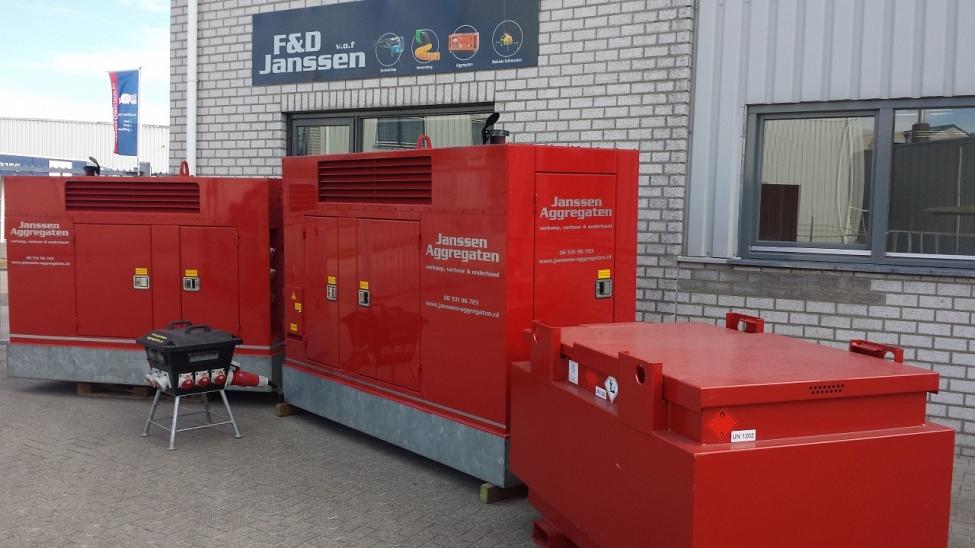 60 en 100 kVA aggregaat en brandstoftank van 950ltr